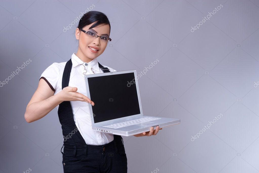 Beautiful brunette business woman with laptop computer  Stock Photo #1959625
