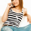 Holding cell phone — Stock Photo