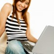 Asian girl with laptop — Stock Photo #1961940