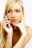 Talking cell phone — Stock Photo