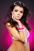 Sexy woman on pink — Stock Photo