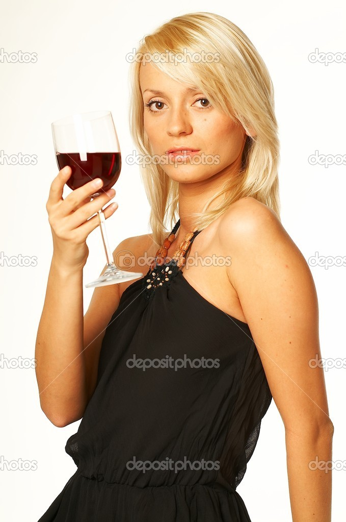 Pretty young blonde women with glass of red wine — Stock Photo #1960506