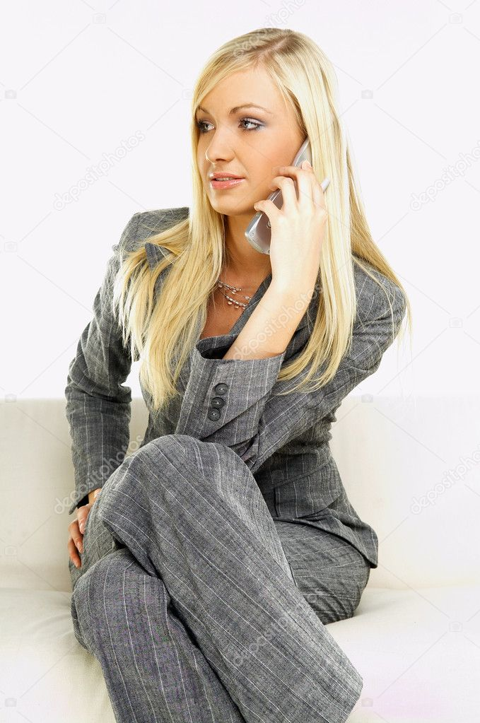 Young business woman talking by phone — Foto Stock #1960884