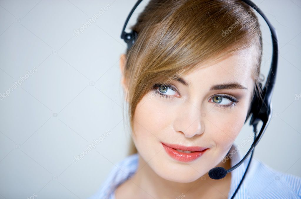 Portrait of beautiful business woman with headset  — Stock Photo #1961112