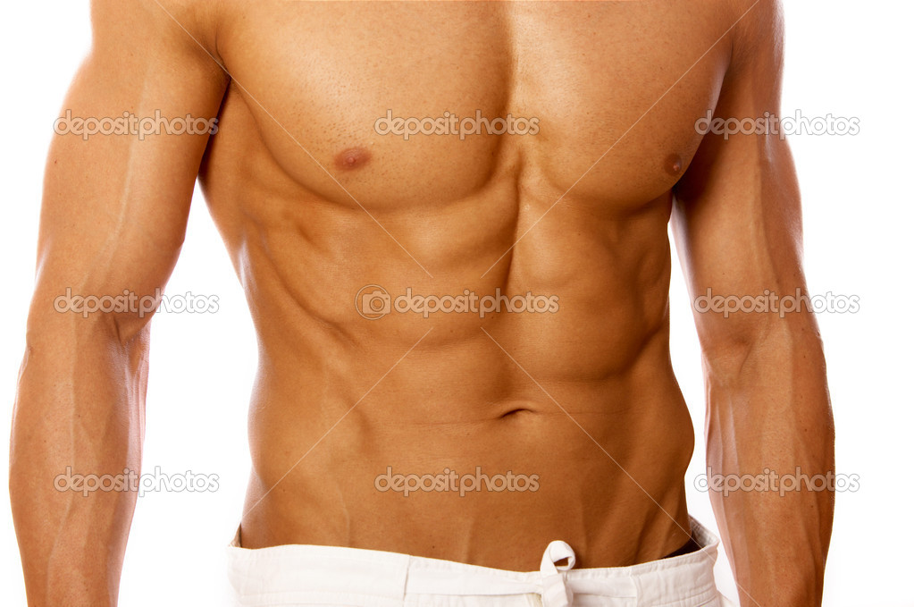 Muscular and tanned male isolated on white — Stock Photo #1961171