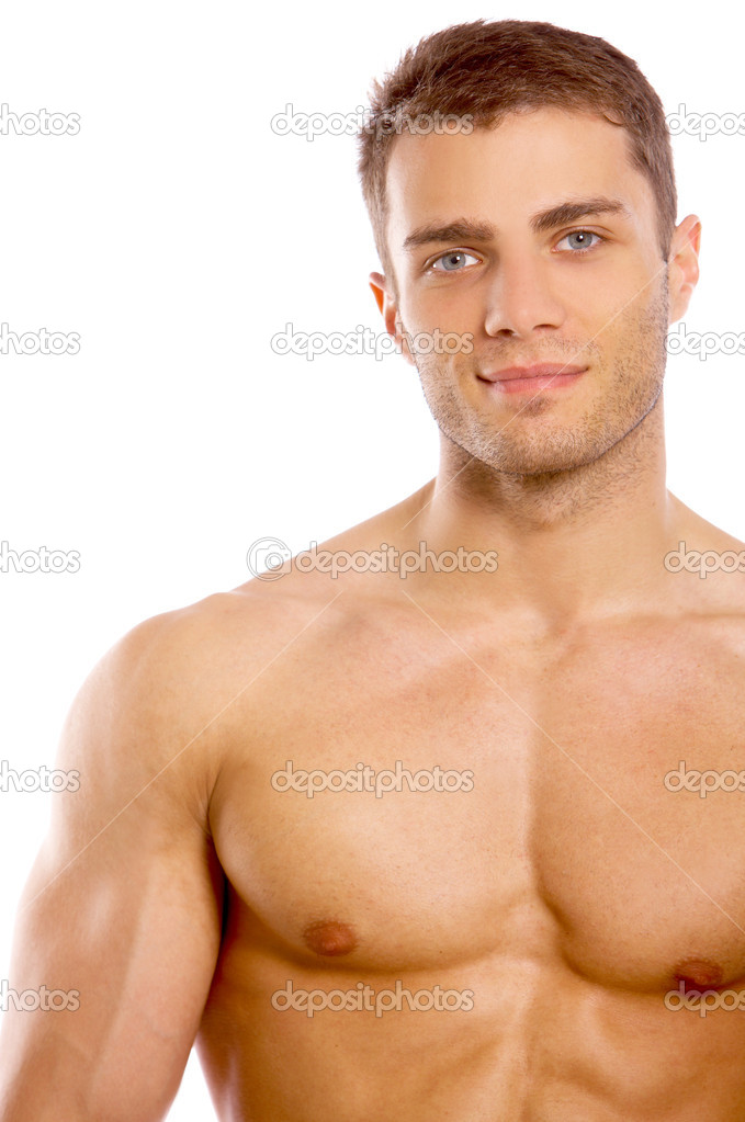 Muscular and tanned man is being measured — Stock Photo #1961824