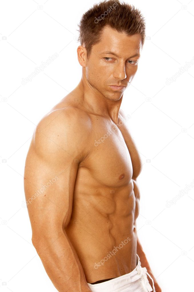 Muscular and tanned male isolated on white — Stock Photo #1962400