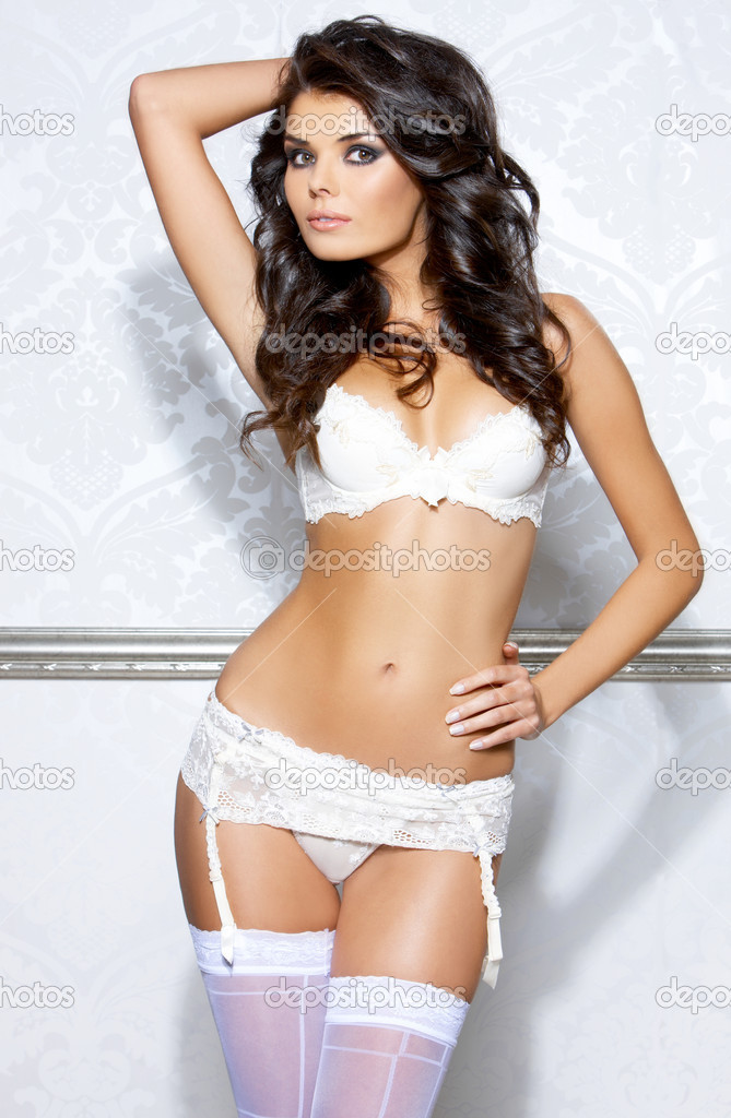Beautiful and sexy girl wearing white lingerie  Stock Photo #1963896