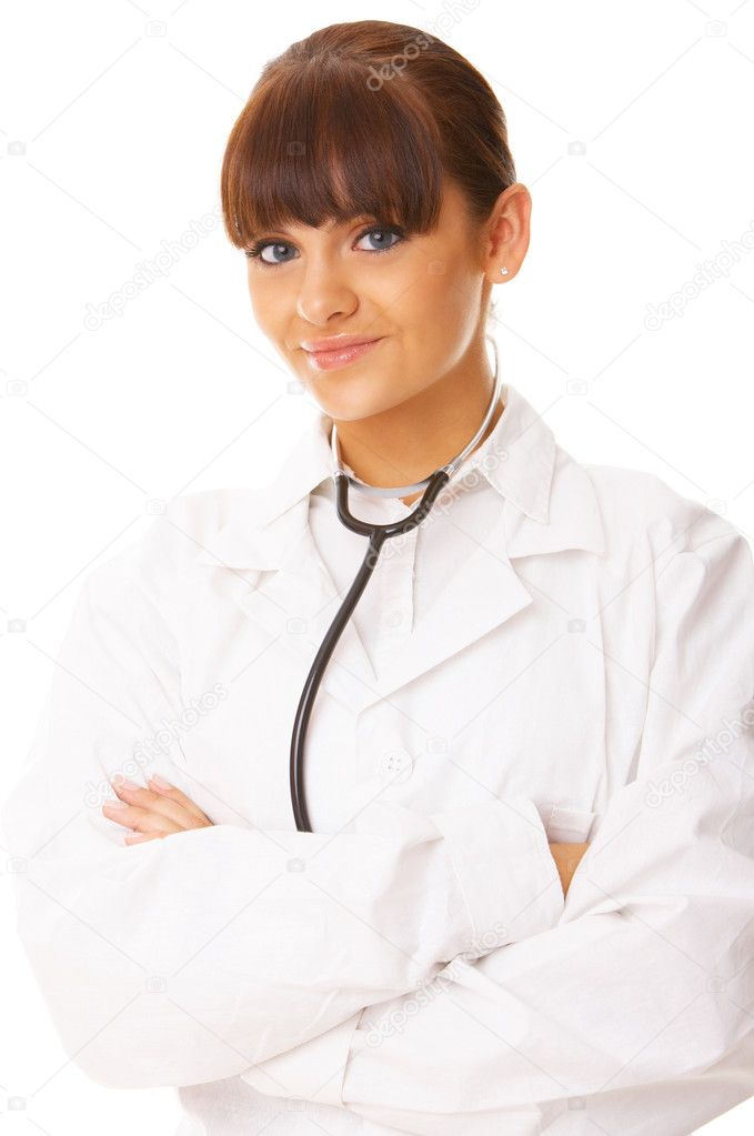 20-25 years old beautiful female doctor isolates on white  Stock Photo #1967634