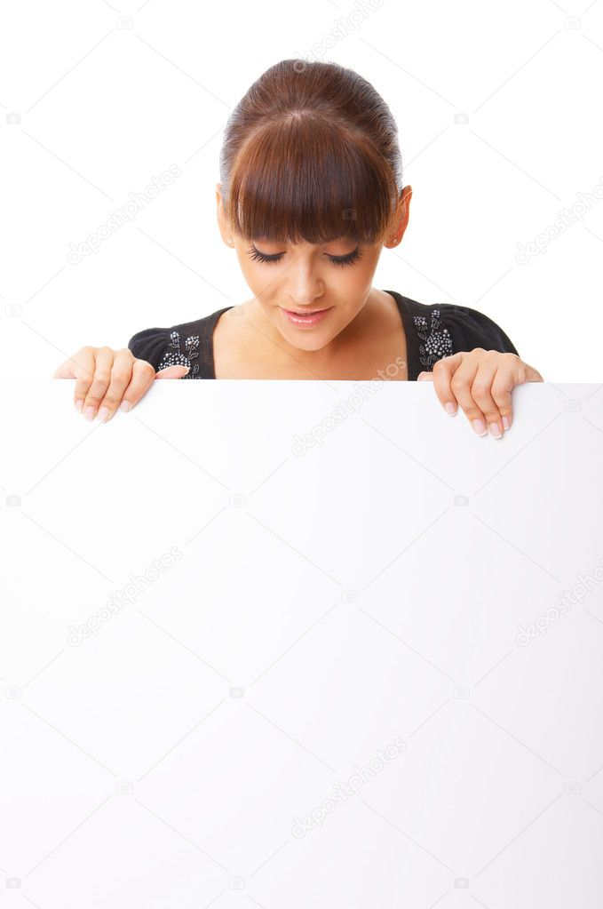 Beautiful business woman holding empty white board — Photo #1968384
