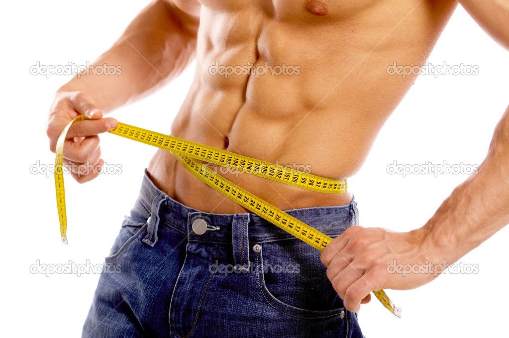 Muscular and tanned male body parts is being measured  Stockfoto #1968625