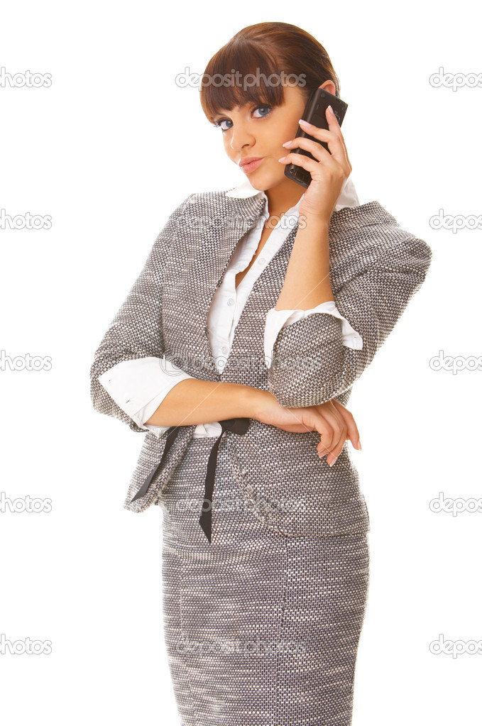 Beautiful business woman is using mobile telephone — Stock Photo #1968900