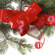 Stock Photo: Gift money with red ribbon