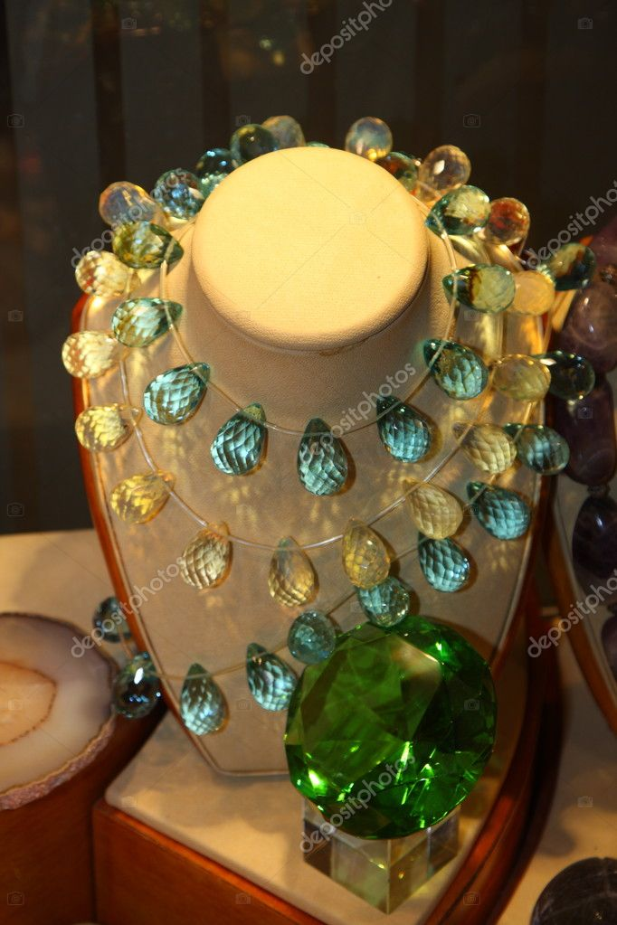 Fashion jewelry displayed in a store window  Stock Photo #1662689