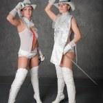 Girls-musketeers — Stock Photo