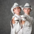 Girls in suits of musketeers — Stock Photo