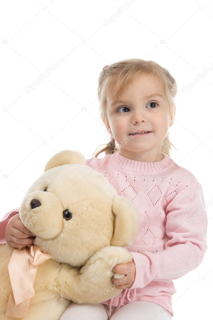 Little girl with a teddy bear  Stock Photo #2633093