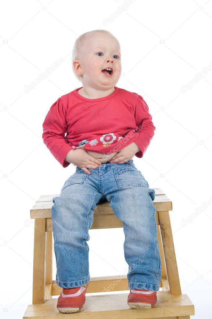Baby Sitting On A Chair Stock Photo Fotoksa 2639832