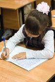 The schoolgirl writes to writing-books — Stock Photo