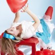Royalty-Free Stock Photo: Woman with red heart baloon