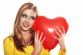 Woman with red valentine heart — Stock Photo