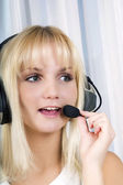Customer service operator woman — Stock Photo