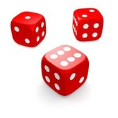 Three red dices — Stock Photo