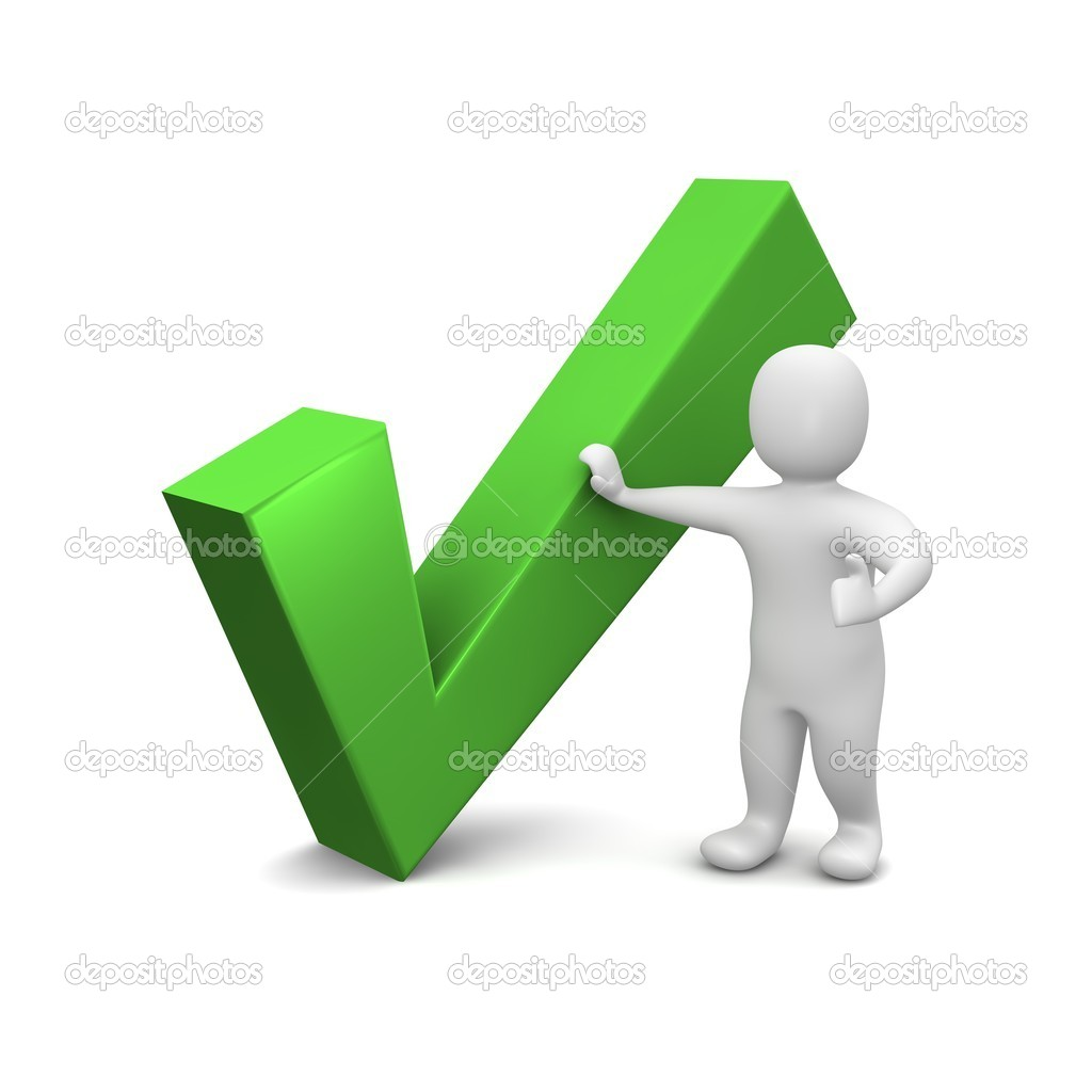 Man and green check mark. 3d rendered illustration.  Stock Photo #1963948