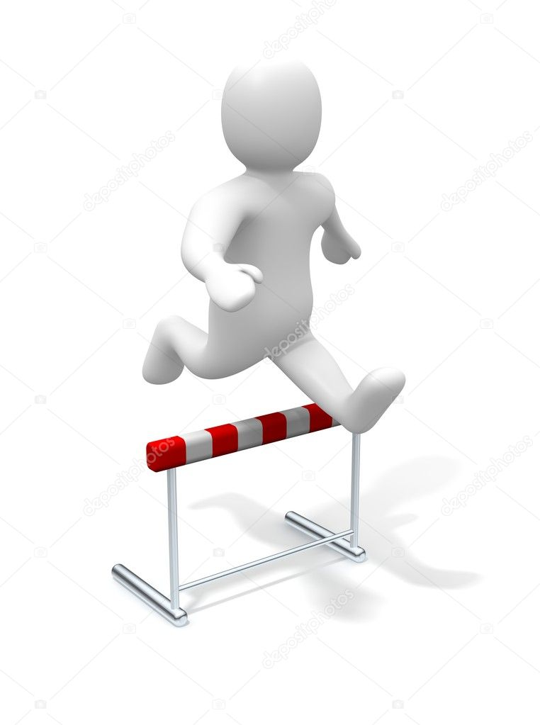 Man jumping over the hurdle. 3d rendered illustration.  Stock Photo #1963992