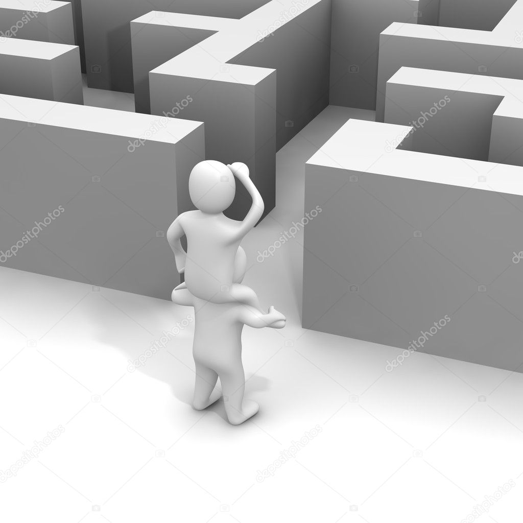 Finding path through labyrinth. 3d rendered illustration.  Stock Photo #1964161
