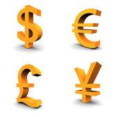 Dollar, Euro, Pound, Yen — Stock Photo
