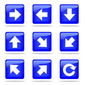 Set of arrow blue buttons — Stock Photo