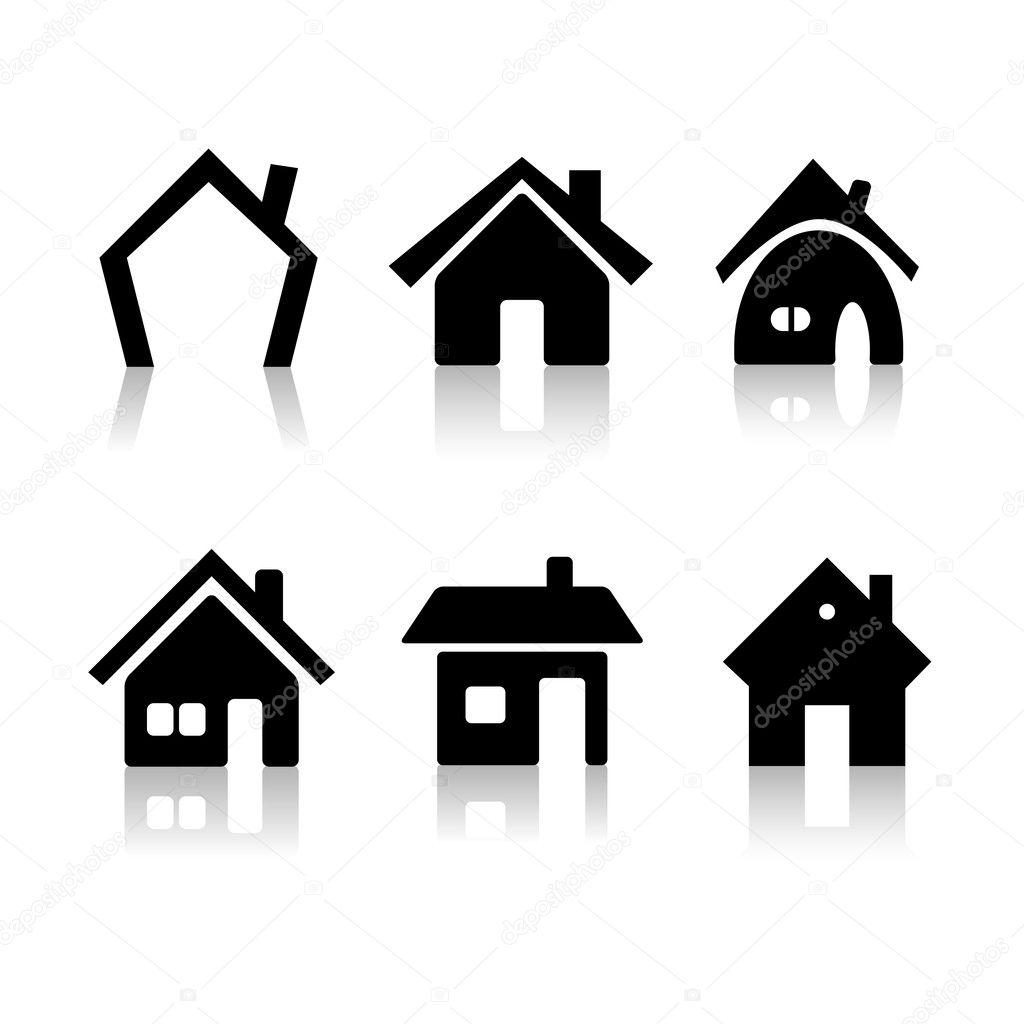 satz von 6 haus icons stockfoto 2045751. Black Bedroom Furniture Sets. Home Design Ideas