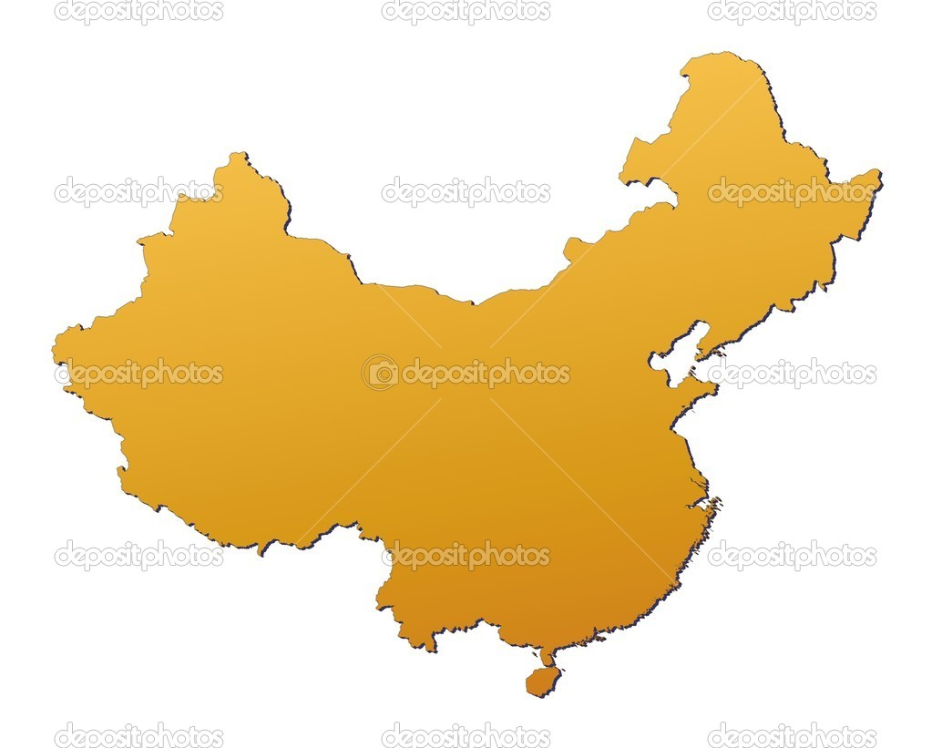 China map filled with orange gradient. Mercator projection.  Stock Photo #2046135