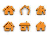Set of 6 house icons — Stock Photo
