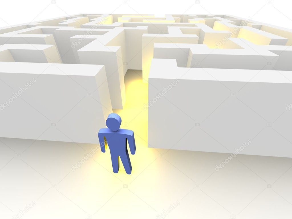 Person in front of labyrinth. 3d rendered image. — Stock Photo #2097219