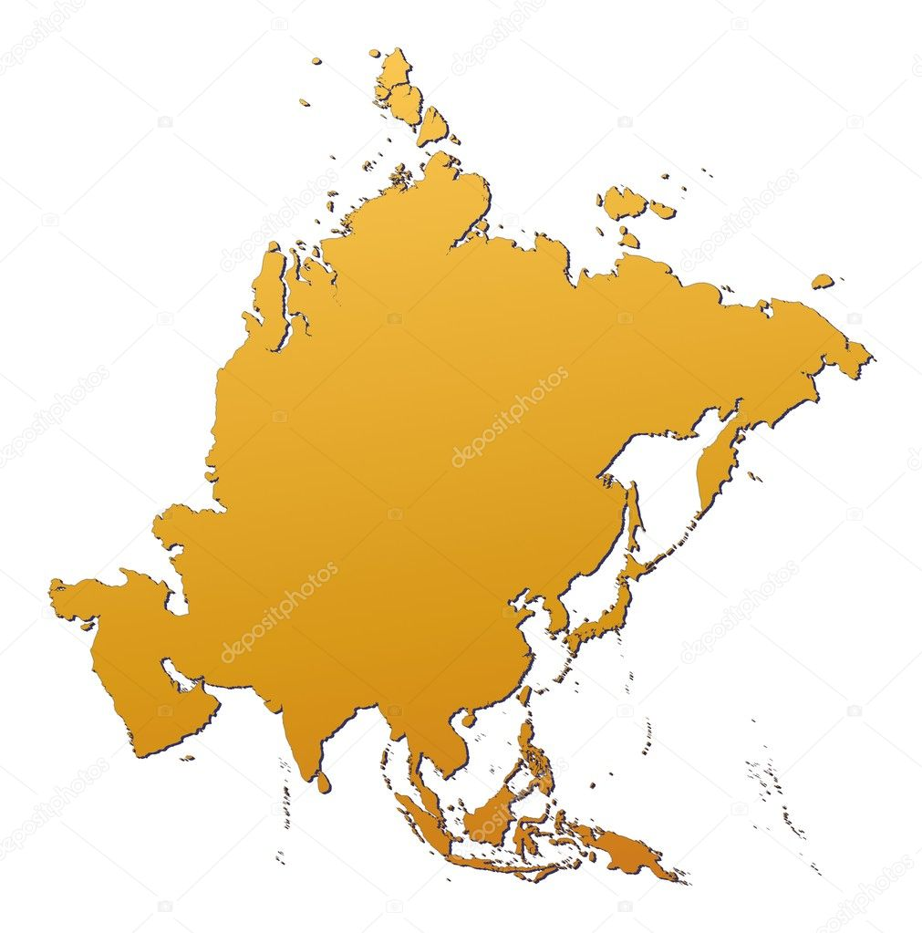 Asia map filled with orange gradient. Mercator projection.  Zdjcie stockowe #2097508