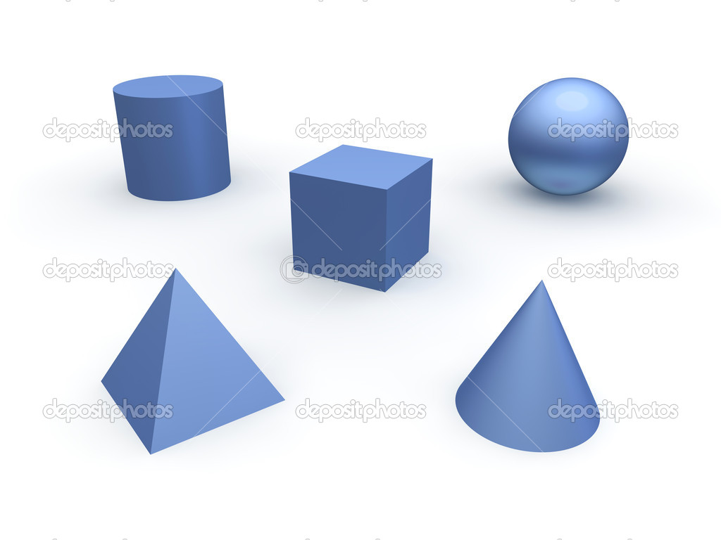 3d basic objects. Sphere, cube, cone, cylinder and pyramid. — Stock Photo #2097930