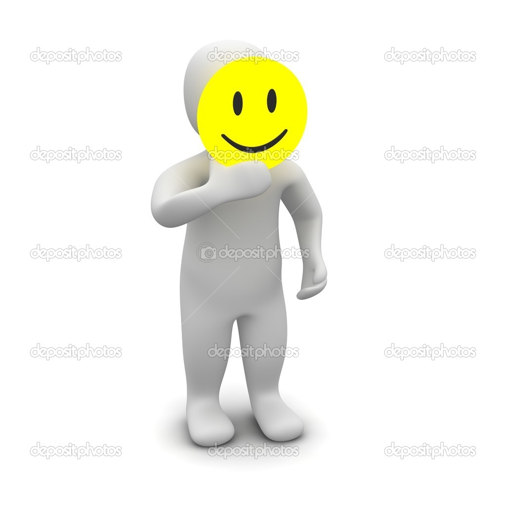 Man with smile mask. 3d rendered illustration. — Stock Photo #2165747