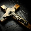 The bible and crucifix — Stock Photo