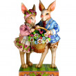 Two rabbits with a basket — Stock Photo