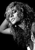 Beautiful woman portrait black and white — Stock Photo