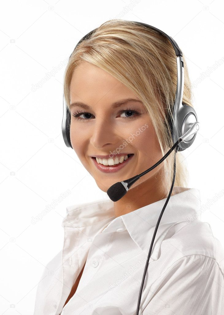 Customer Service Operator-Isolated over a White Background — Stock Photo #1769942