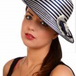 Beautifully woman in hat — Stock Photo