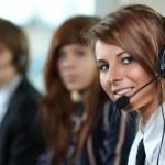 Representative smiling call center woman — Stock Photo