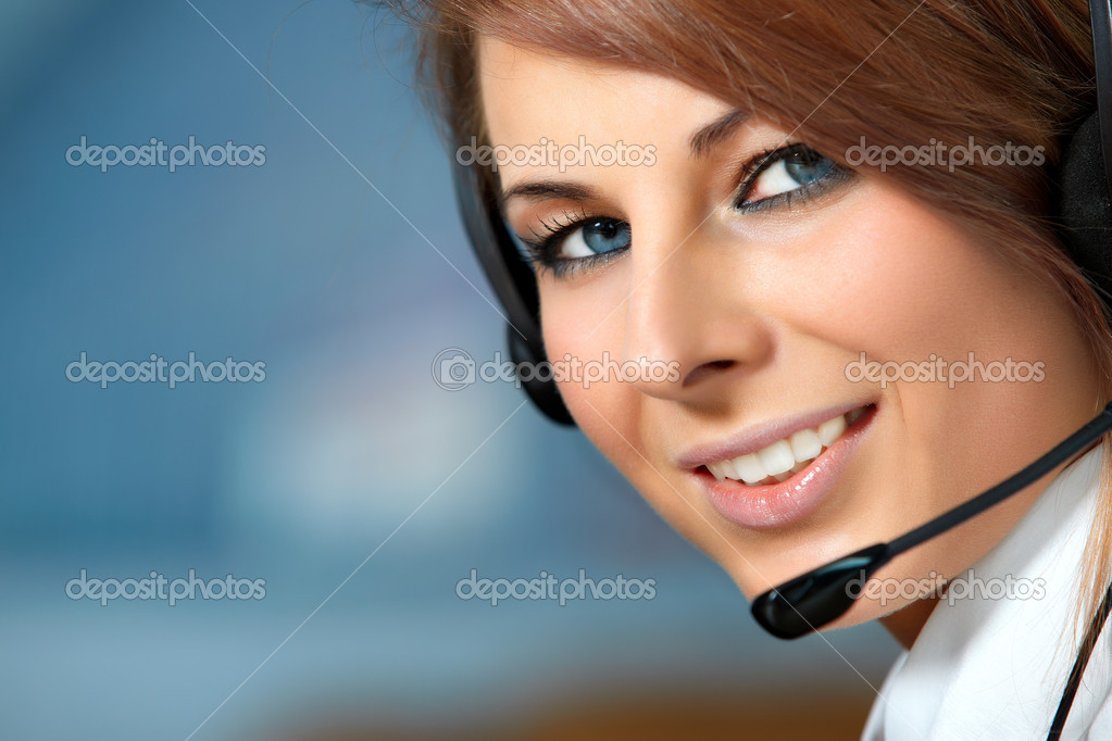 Beautiful representative smiling call center woman with headset. — Stock Photo #2678900
