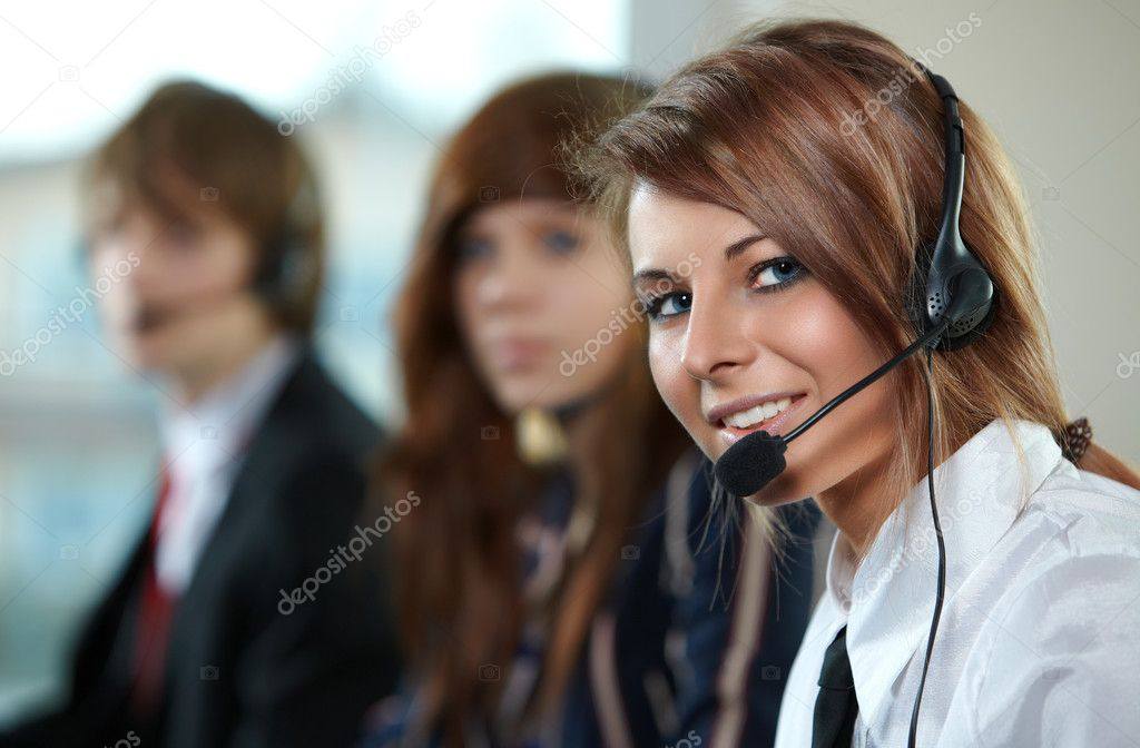 Beautiful representative smiling call center woman with headset. — Stock Photo #2679476