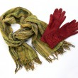 Stock Photo: Green cotton scarf with brown gloves