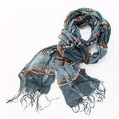 Grey cotton scarf on a white background — Stock Photo