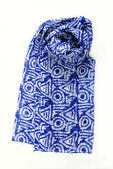Blue scarf on a white background — Stock Photo